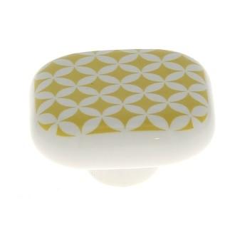 Bouton carré carreau de ciment moutarde 4cm
