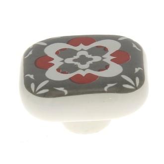 Bouton carré carreau de ciment gris 4cm