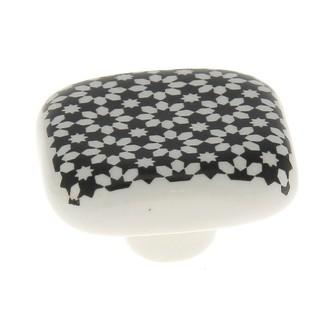 Bouton carré carreau de ciment noir 4cm