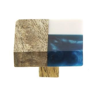 Bouton rectangle bois et résine blanc bleu 4x5cm
