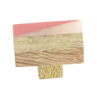 Bouton rectangle bois et résine terre 3x4,5cm