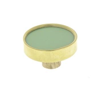 Bouton rond laiton et résine sauge 3,8cm