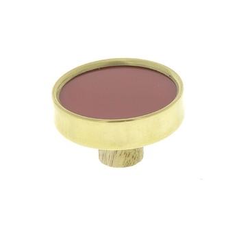 Bouton rond laiton et résine rouge 3,8cm