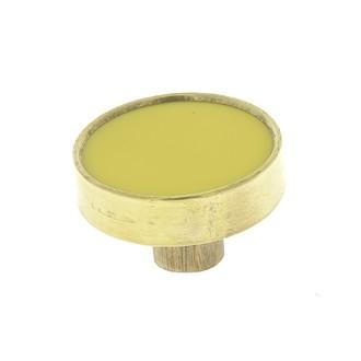 Bouton rond laiton et résine moutarde 3,8cm