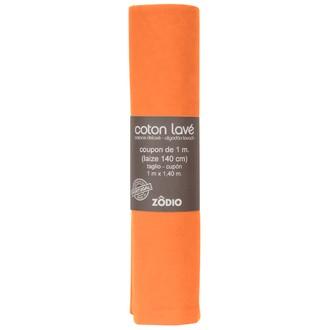 Coton lavé potiron coupon 100x140cm