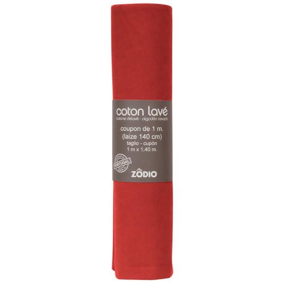 Coton lavé brique coupon 100x140cm