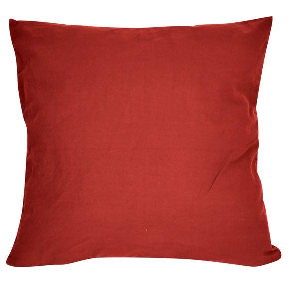 Fodera per cuscino quadrata in cotone delavé rosso 40x40cm