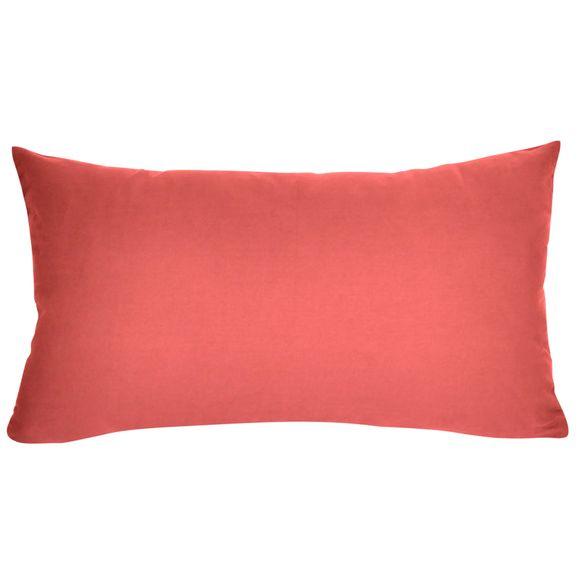 Fodera cuscino rettangolare in cotone delavé rosa corallo