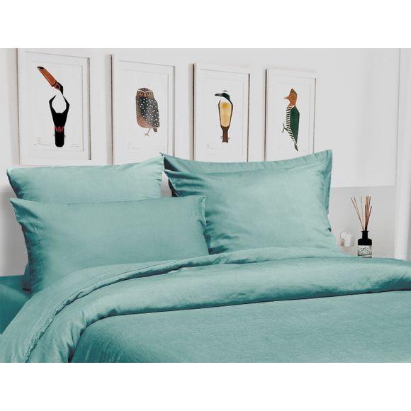 Copripiumino matrimoniale in lino e cotone delavé azzurro
