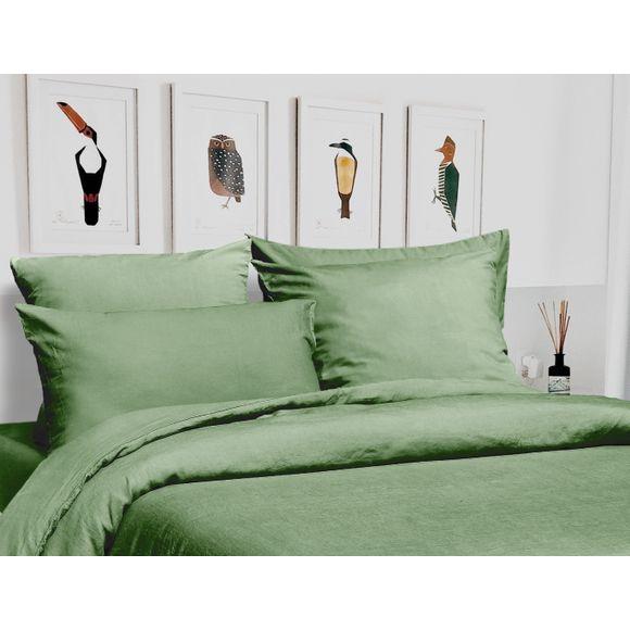 acquista online Copripiumino matrimoniale king size lino e cotone verde salvia
