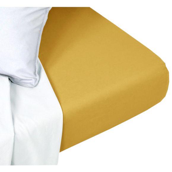 acquista online Lenzuolo con angoli singolo in cotone delavé giallo curry