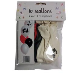 Achat en ligne Set de 10 ballons théme pirate diamètre 25cm