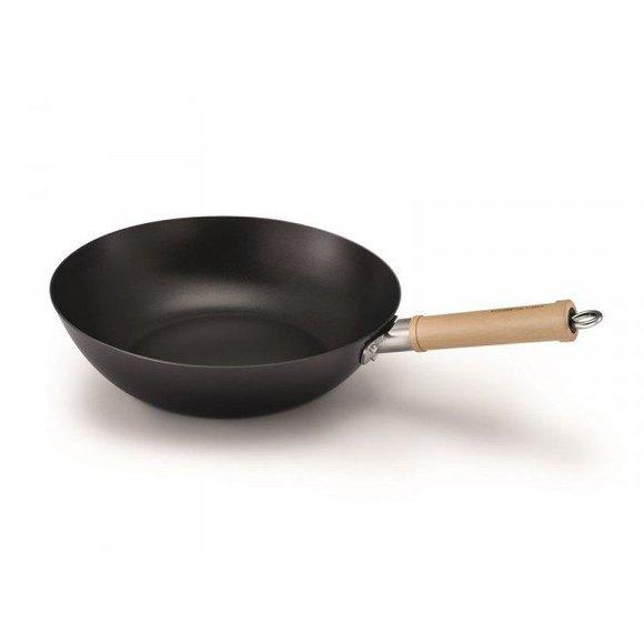 Wok tôle d'acier revêtu BALI 28 cm poignée bois