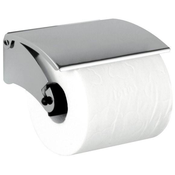 Dérouleur papier toilette avec couvercle en métal chromé