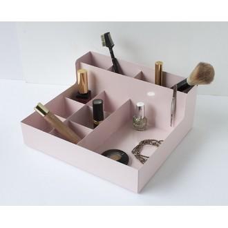 Rangement maquillage métal rose 9 compartiments 24x21x10cm