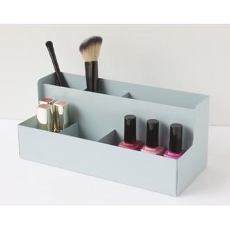 Rangement pour maquillage en métal bleu 6 compartiments