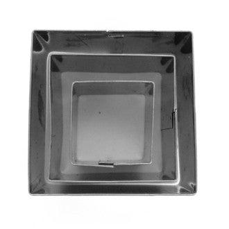 Set de 3 emporte-pièces carrés en inox 20x20 mm, 30x30 mm et 40x40 mm