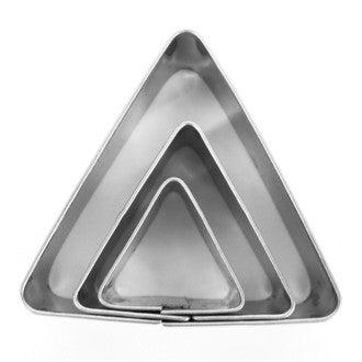 Set 3 emporte-pièces triangles en inox Ø20mm Ø30mm et Ø40mm