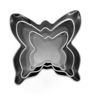 Set 3 emporte-pièces inox Papillons 20x20mm 30x30mm 40x40mm
