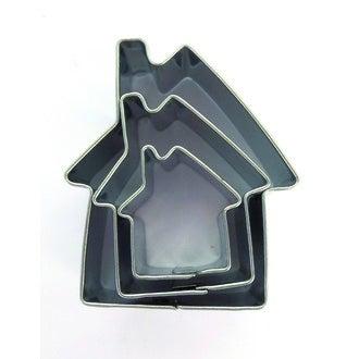 Set de 3 emporte-pièces en inox maisons 20x20 mm, 30x30 mm, 40x40 mm
