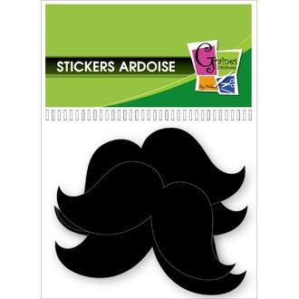 Set de 12 stickers moustache en ardoise