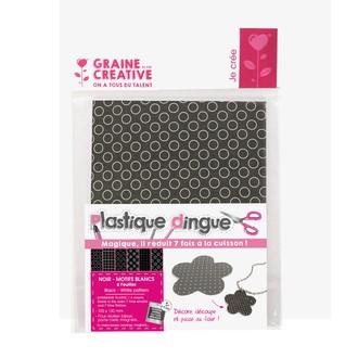 Set de 6 feuilles plastique dingue noir et motifs blancs