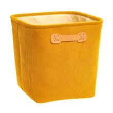 Achat en ligne Panier rangement velours cotelé jaune 31x31cm
