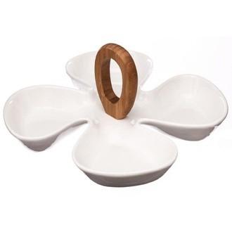 Plat à servir avec 4 compartiments manche bambou