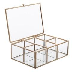 compra en línea Joyero de metal dorado y cristal Modern Life (20 x 14 x 7 cm)