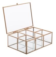 Achat en ligne Boite bijoux vitrine décorative en verre et métal doré 20X14X7cm