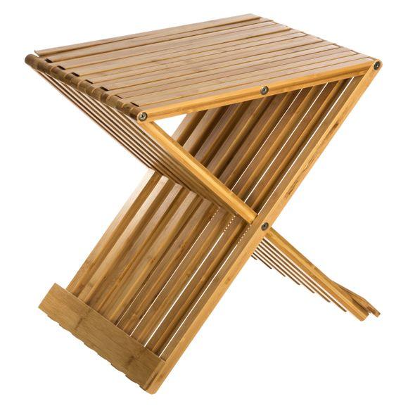 Sgabello bagno pieghevole in bamboo
