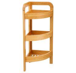 compra en línea Estantería de baño de esquina con 3 cestas de bambú blancas
