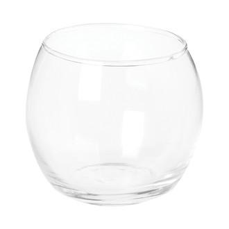 Photophore rond en verre transparent