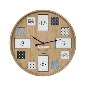 Horloge 12 photos bois 57cm