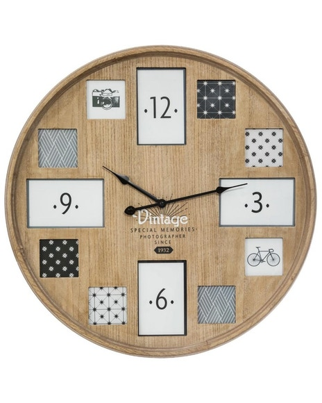 Achat en ligne Horloge 12 photos bois 57cm