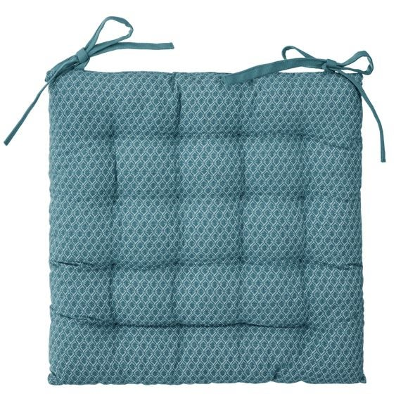 Galette chaise Otto bleu canard 38x38cm