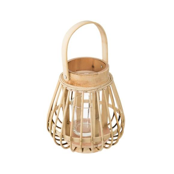 Lanterne rotin beige d14,5xh16