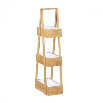 Rangement de salle de bain à 3 niveaux en bambou