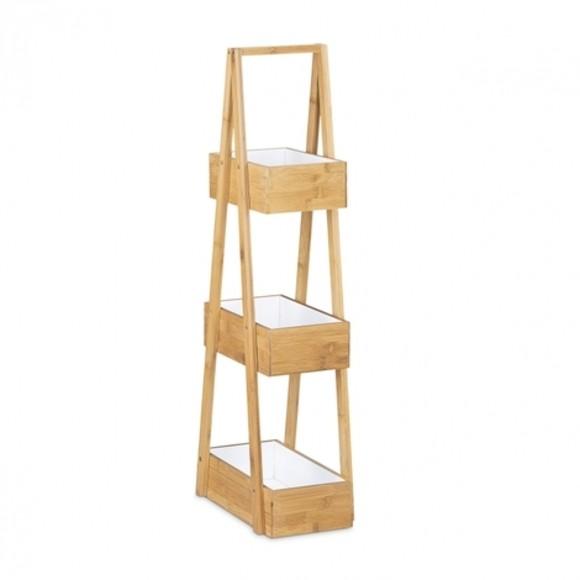 Rangement de salle de bain à 3 niveaux en bambou Pas cher - Zôdio