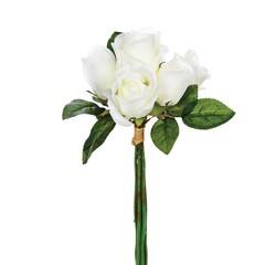 compra en línea Ramo de 7 rosas artificiales blancas (30 cm)