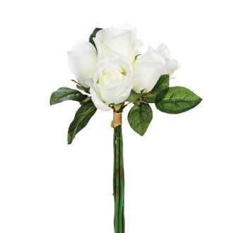 Bouquet de 7 roses artificielles blanches 30cm