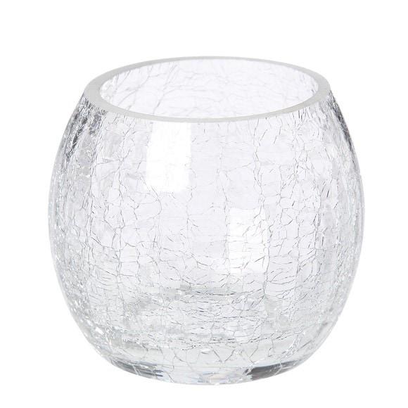 Photophore rond en verre craquelé