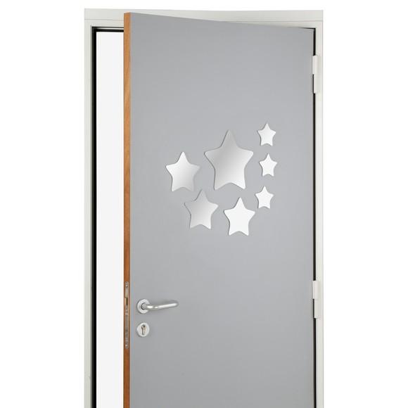 Set de 7 miroirs adhésifs étoiles argentées