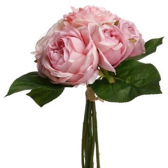 Bouquet de 5 roses artificelles roses anciennes 30cm