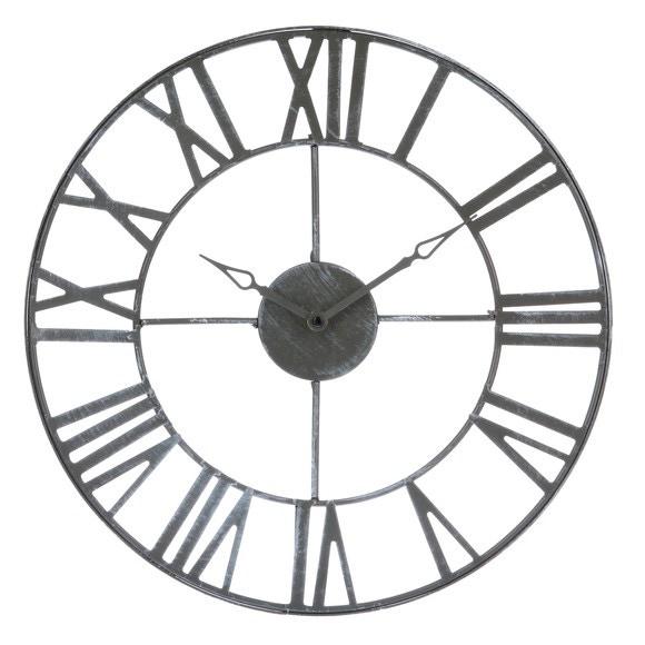 Horloge murale vintage en m tal gris 40cm pas cher z dio for Horloge murale en metal