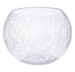 compra en línea Florero de cristal con efecto craquelado (Ø20 x 15cm)