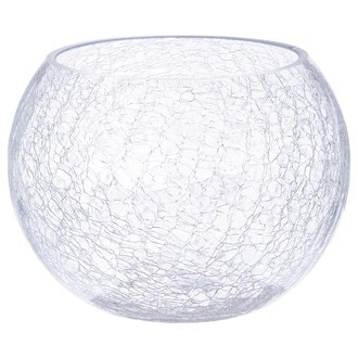 Vase forme boule en verre avec effet craquele 20xH15cm