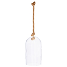 Achat en ligne Cloche en verre transparente avec corde H30cm