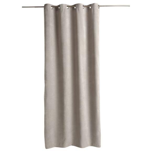 atmosphera rideau aspect velours gris clair memo 140x260cm pas cher z dio. Black Bedroom Furniture Sets. Home Design Ideas