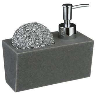 Distributeur de savon liquide et porte éponge en pierre avec éponge grise 140ml